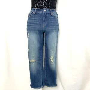 Nine West distressed denim jean capris size 4